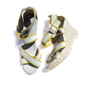 GAP gray/yellow espadrilles buckle strap